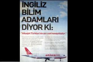 Atlas Jet'in bugun gazetelerde tam sayfa verdiği reklam.8955