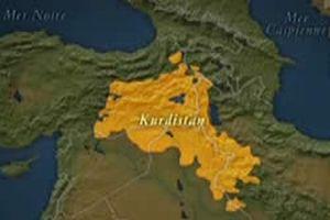 Londra'da düşünce kuruluşundaki Kürdistan haritası.10339