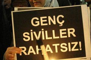'Genç Siviller' başörtüsü yasağını protesto etti.13220