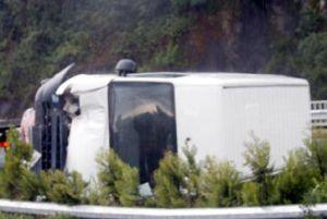 Lastiği patlayan minibüs dehşet saçtı.12174
