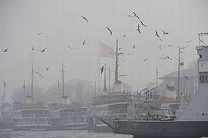 İstanbul'da sis deniz trafiğini etkiliyor.8437