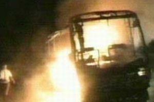 Yanan otobüsün yolcuları faciadan kurtuldu.8379