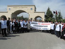 Mersin Üniversitesi'nde başörtü eyleminde arbede.14680