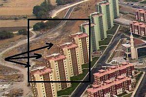 Balıkesir'deki TOKİ konutlarının çatısında haç işareti.22278