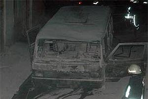 Tiner yüklü minibüs yandı.10232