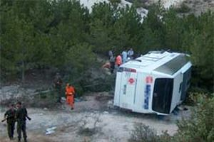 Yolcu otobüsü devrildi: 15 yaralı.13653