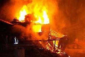 Çankırı'daki yangında 7 ev kül oldu.11434