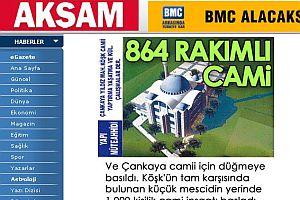 Akşam gazetesi manşet yaptı cami inşaatı durduruldu.22777