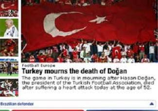 UEFA, Doğan'ın ölümünü manşetten verdi.17617