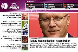UEFA, Hasan Doğan'ın ölümünü manşetine taşıdı.21750
