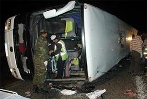 Gaziantep'te iran otobüsü devrildi.13395