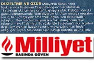 Milliyet Gazetesi ilk özürünü diledi.19390