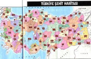 Türkiye Şehit Haritası hazırlandı.19398