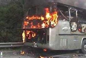 Yolcu otobüsünde yangın çıktı.11821