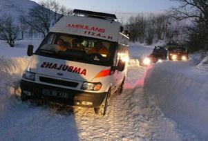 Bahçesaray'da ambulans kara saplandı.13665