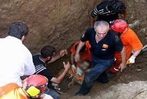 Üzerine kaya düşen işçi öldü.13707