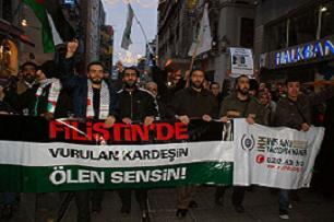 Taksim'de 5 bin kişi Gazze için yürüdü.15144
