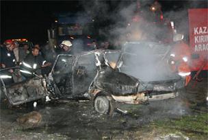 Düzce'de kaza: 2 kişi yanarak öldü.13399