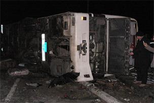 Sivas'ta yolcu otobüsü devrildi: 1 ölü.11156