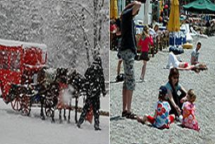 Bolu'da kar Bodrum'da güneş keyfi.21050