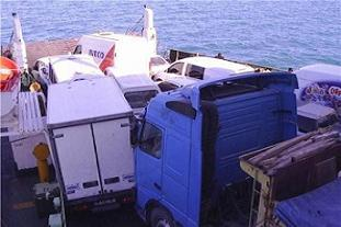Feribotta 8 araç birbirine girdi.14789