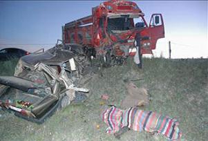 Park halindeki kamyona çarptı: 2 ölü.14085