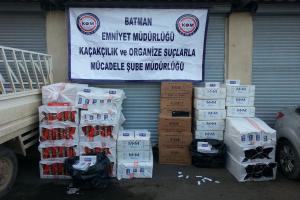 Batman'da 31 bin 450 paket kaçak sigara ele geçirildi.14172